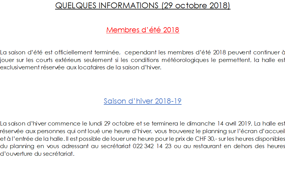 Quelques informations 29 oct